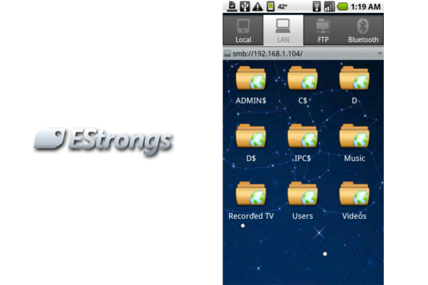 EStrongs File Explorer (FEX) for Android